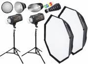 BRESSER Kit Studio Flash: 2x FM-400 + Azione Pacchetto 1