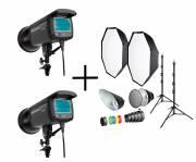 BRESSER Studio Flash Set: 2x CM-300 + Promozione pacchetto 1