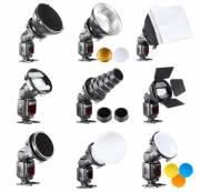 Set modificatori di luce BRESSER BR-SET7 con 7 elementi per flash da fotocamera