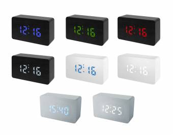 BRESSER Sveglia radiocontrollata MyTime LED a colori Effetto legno