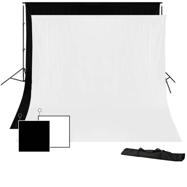 BRESSER BR-D23 Sistema di Fondo + Fondale in Tessuto 3 x 4m (Bianco e Nero)