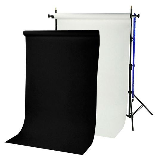 Sistema portafondali BRESSER BR-TP240 Altezza 240cm + 2 Fondali in Carta 1,35x11m bianco artico e nero