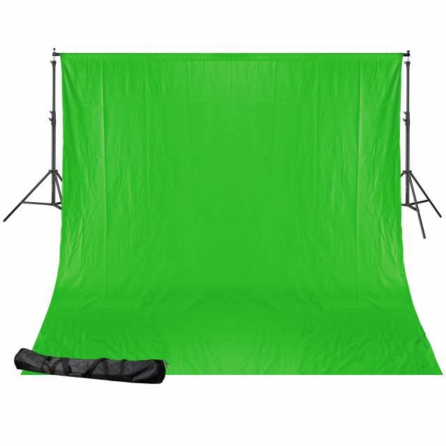 BRESSER BR-D24 Sistema di fondo + 2.5x3m Cloth verde cromakey