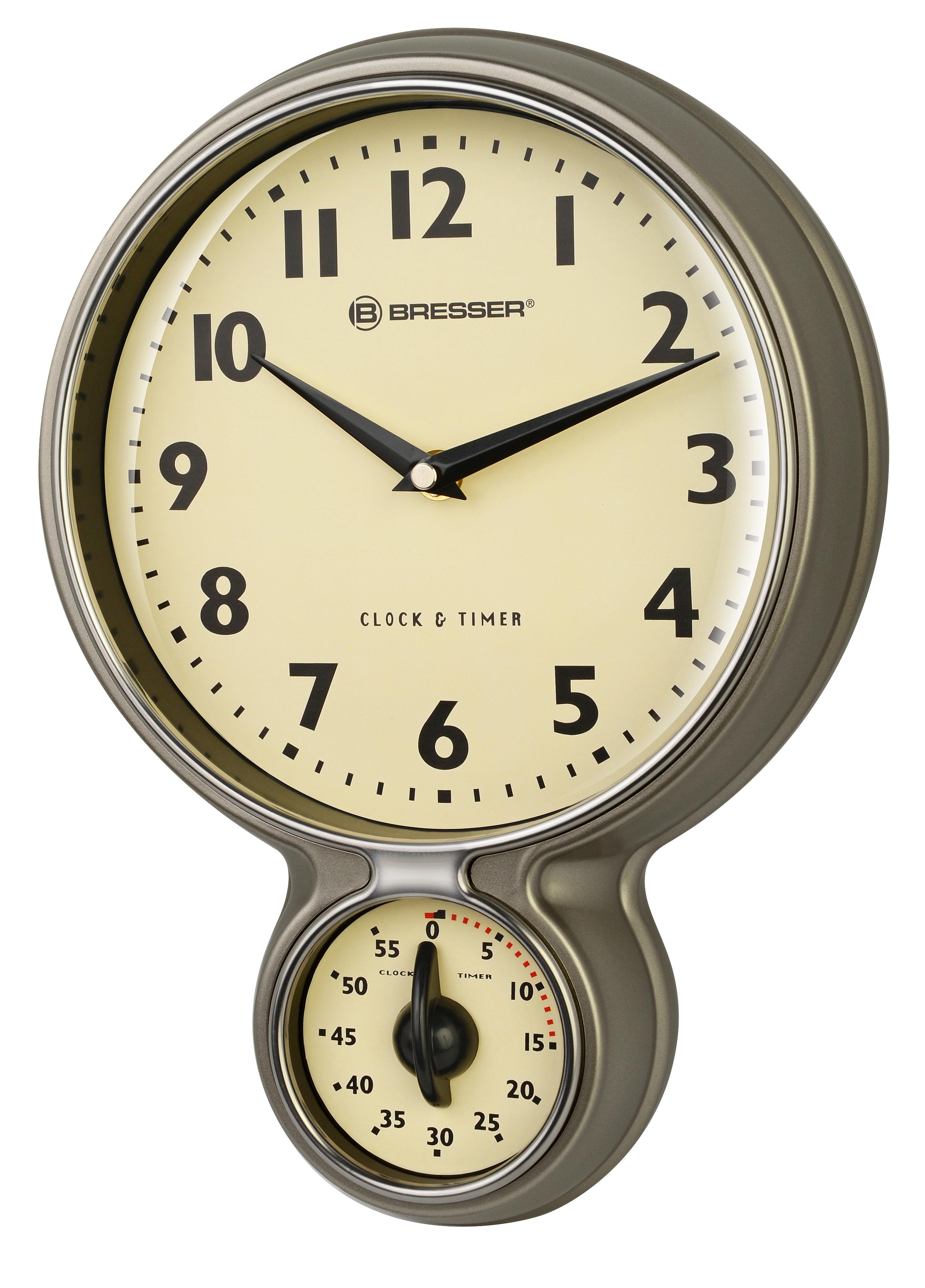 Bresser mytime orologio da cucina vintage in acciaio inox for Orologi cucina